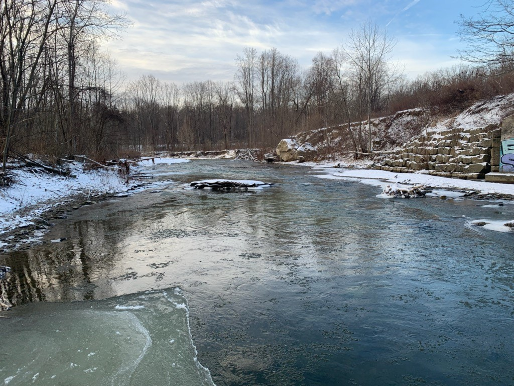 photo of Elk Creek in Erie County in winter time. Scenic beauty.