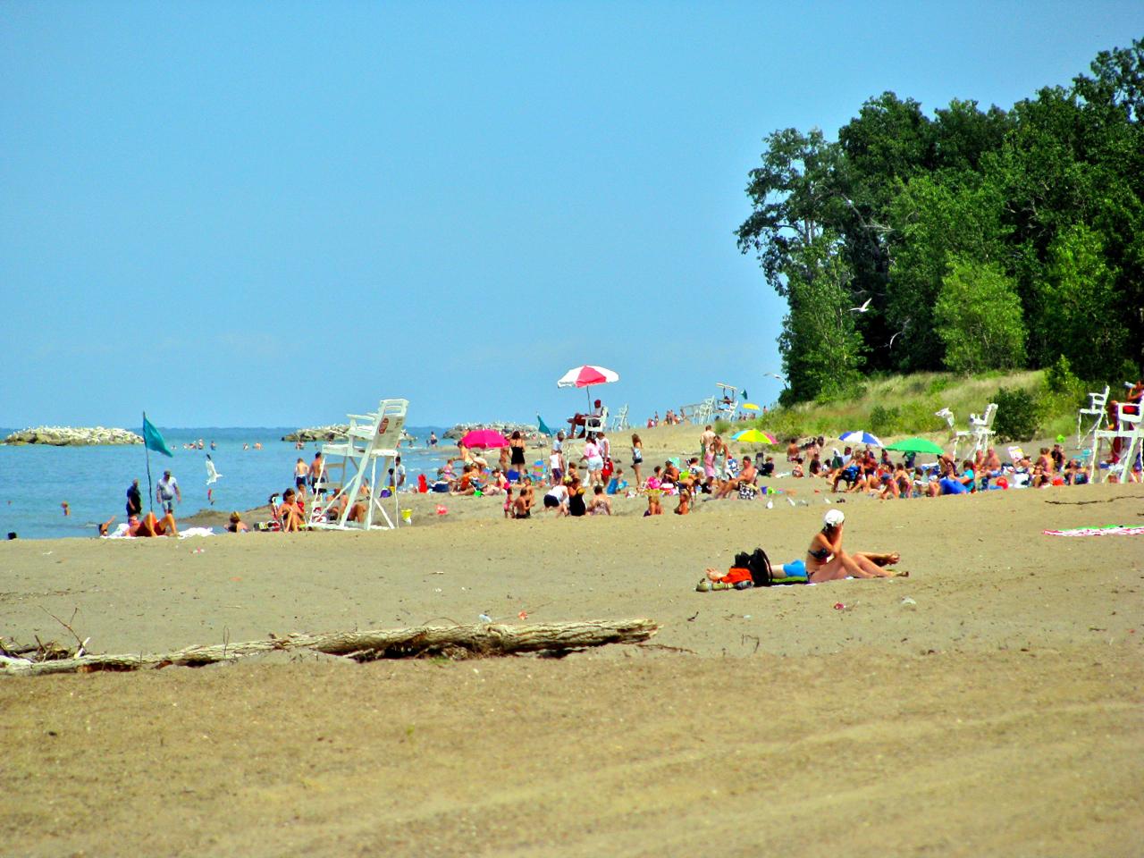 popular beach along Lake Erie