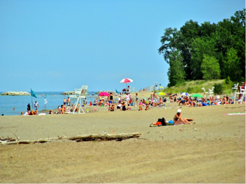popular beach setting along Lake Erie