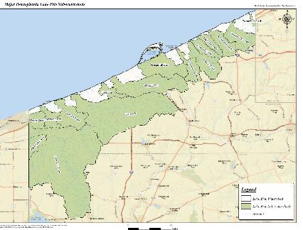 map of PA Lake Erie coastline