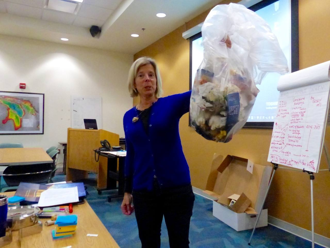 Marti Martz showing how much trash was saved during Microplastics workshop