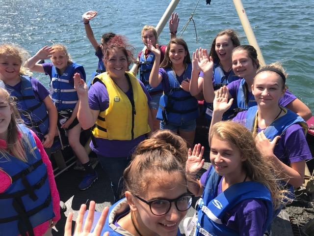 students and teachers participate in shipboard education program