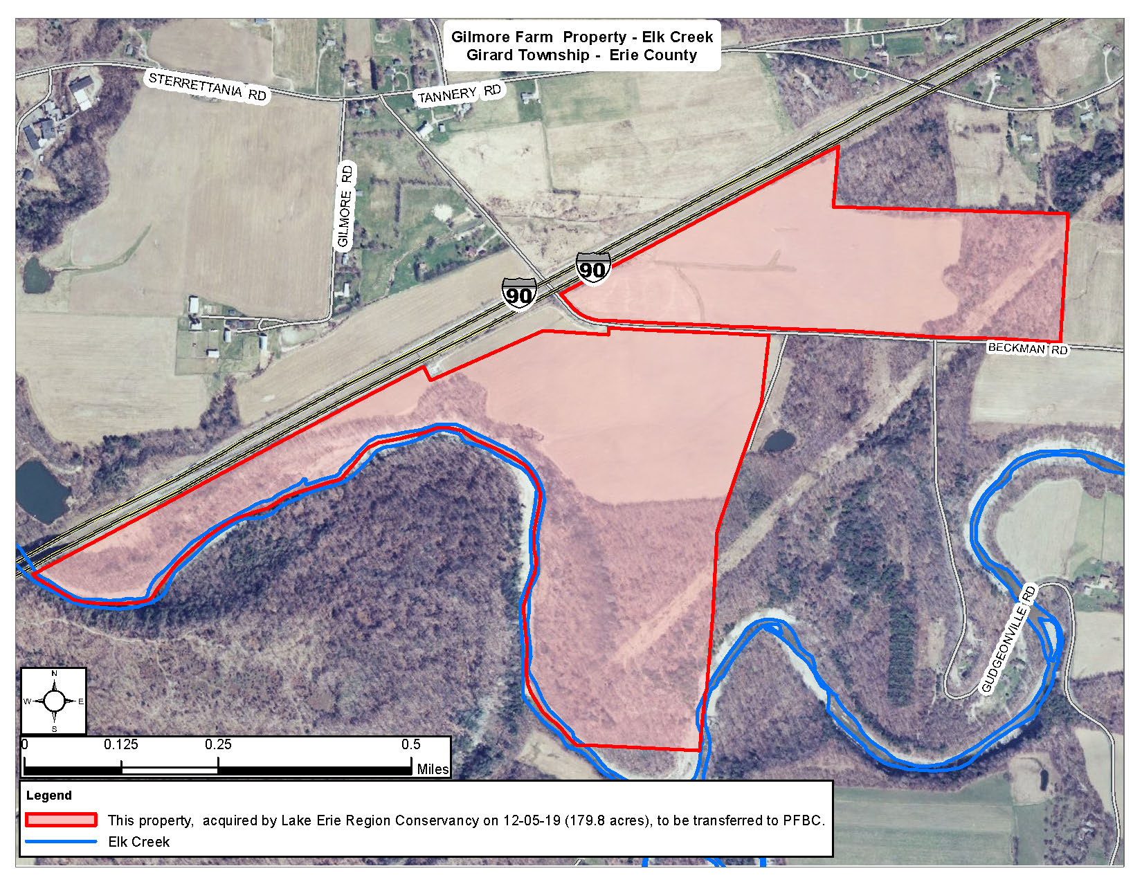 Map depicting the Gilmore Farm. Nearly 200 acres were recently acquired and will be conserved through the PA Fish & Boat Commission