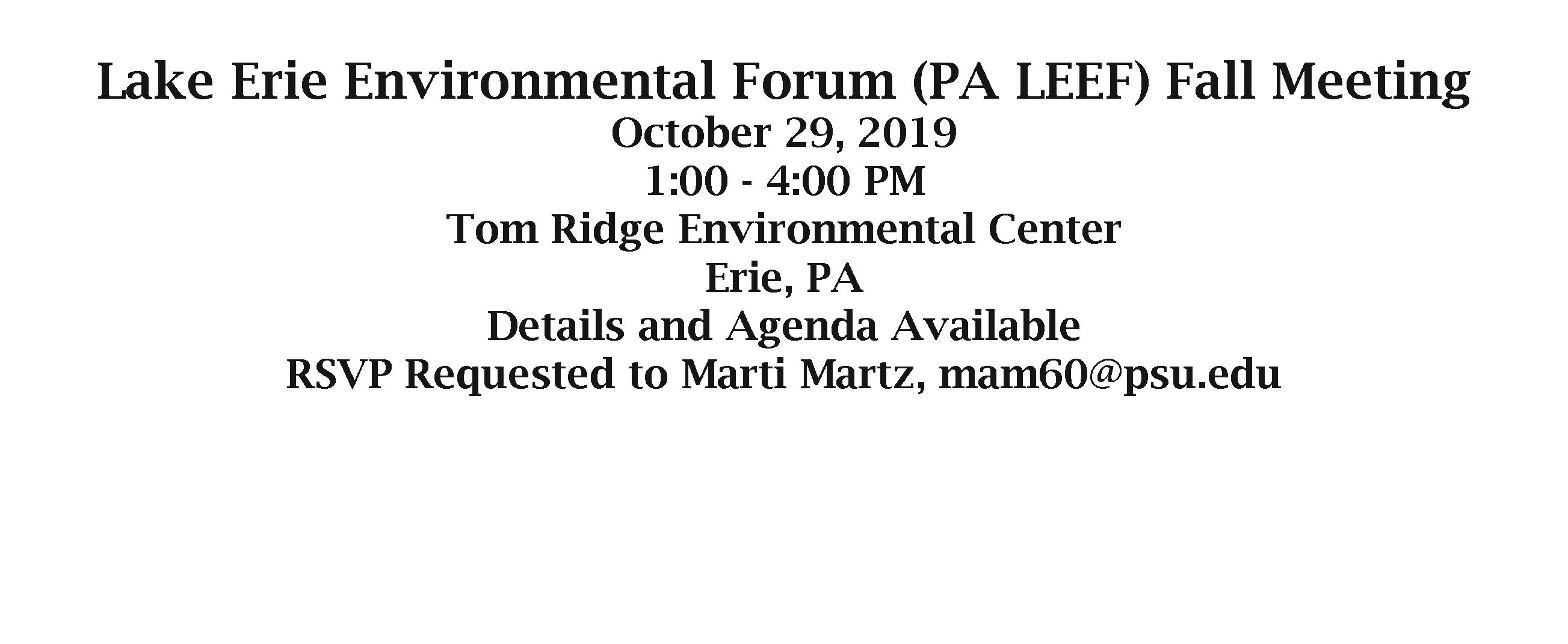 PA LEEF meeting announcement