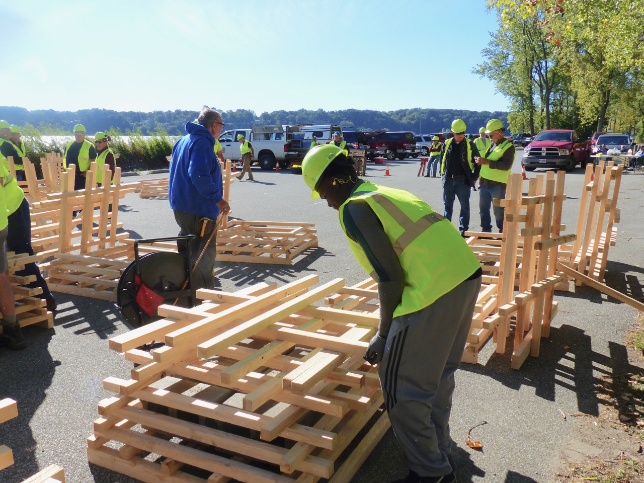 volunteers build fish habitat structures