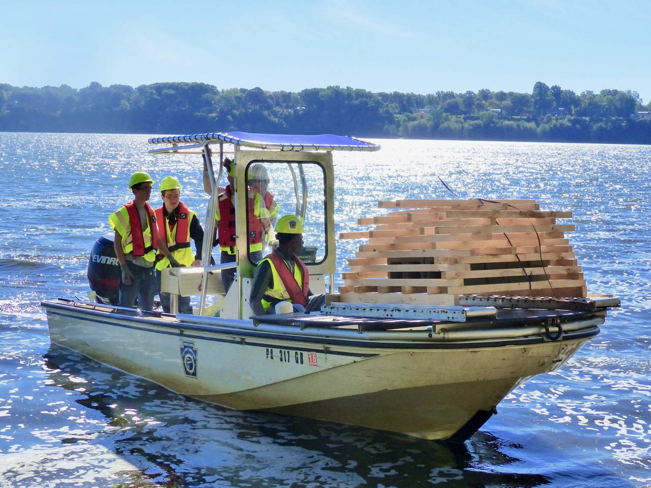 volunteers deploy fish habitat structures