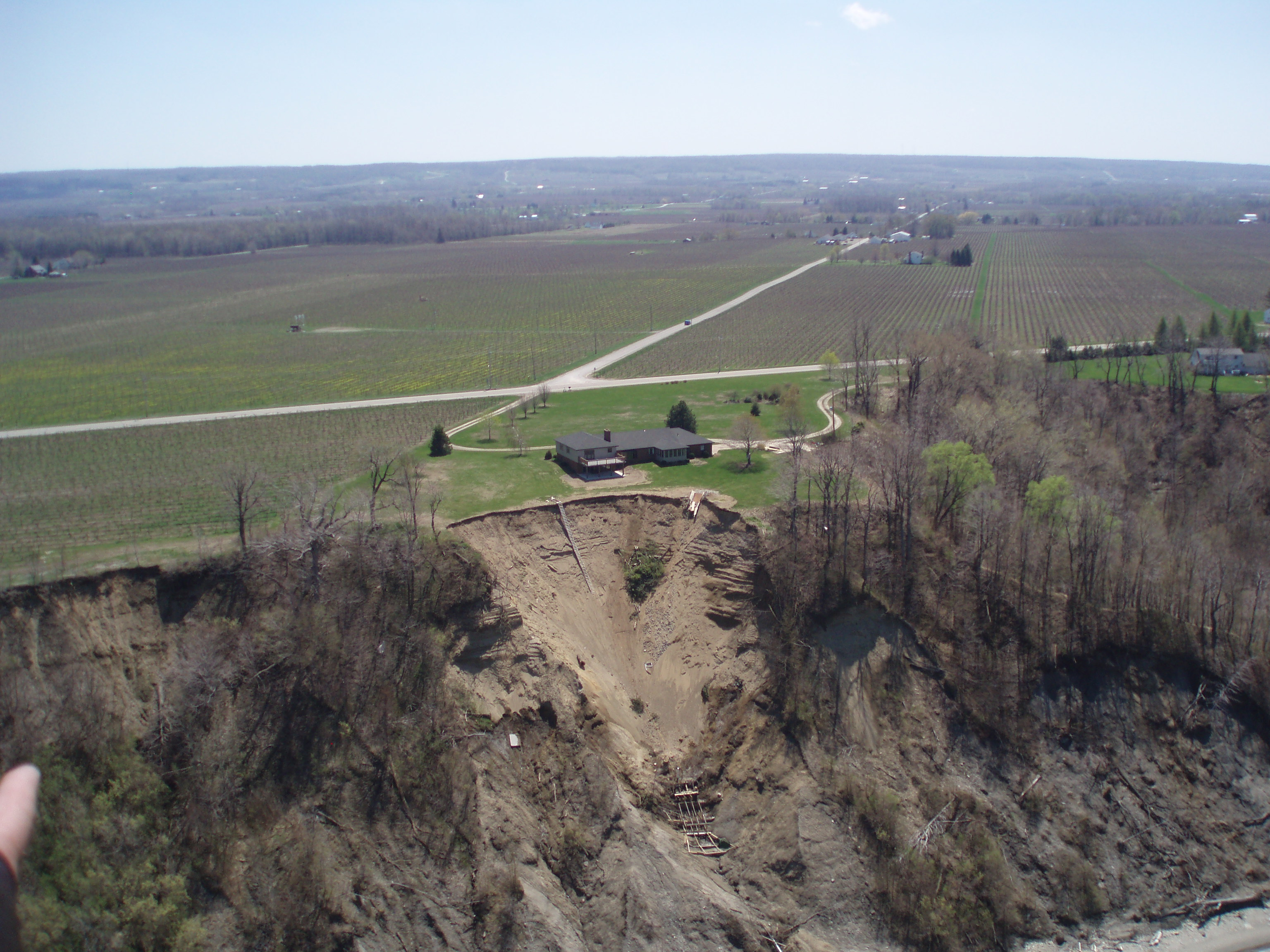 Aerial View of bluff recession in Erie, PA