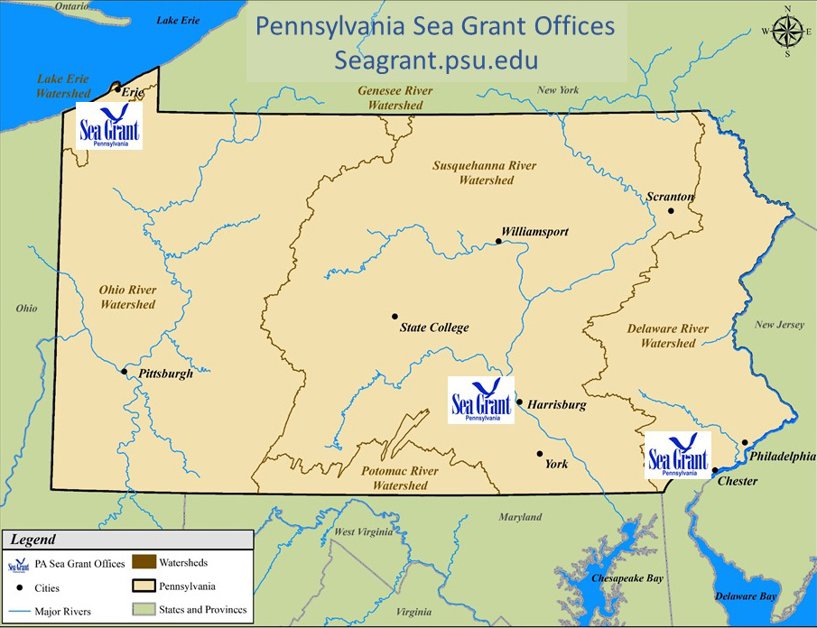 PA Map with indicators at Erie Harrisburg and Philadelphia office locations
