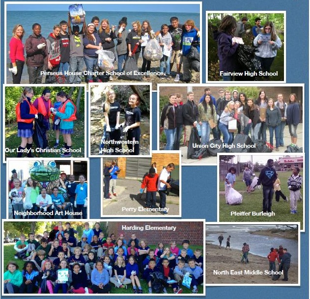 collage of high school students in beach clean up
